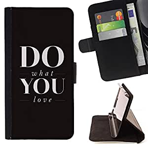 BullDog Case - FOR/Samsung Galaxy S4 Mini i9190 / - / what do you love black text inspiring motivational /- Monedero de cuero de la PU Llevar cubierta de la caja con el ID Credit Card Slots Flip funda de cuer