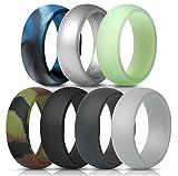 ThunderFit Mens Silicone Wedding Rings Wedding Bands - 7 Pack (Black, Dark Grey, Camo, Navy Blue, Silver, Glow in The Dark, Blue Camo,...