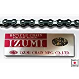 "Izumi Jet Black Single Speed Chain 1/8"" Black/Silver 116L"