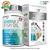 OMEGA 3 FISH OIL Gelcaps 180 Softgel Pills 3,000mg Per Serving with 915MG of EPA and 630MG of DHA Natural Lemon Flavor No Fish Burps by Purity Labs offers