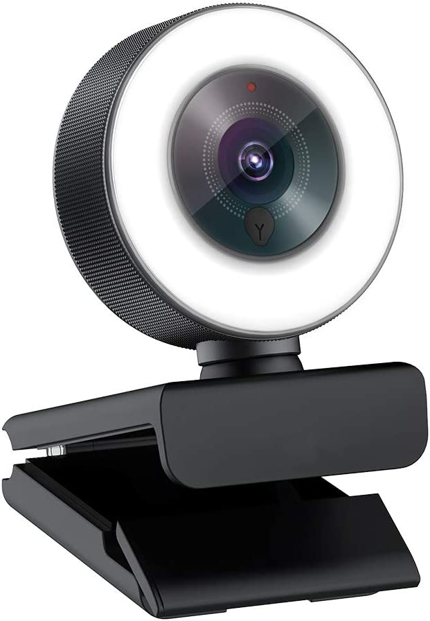 Angetube Streaming 1080P HD Webcam Built in Adjustable Ring Light and Mic. Advanced autofocus AF Web Camera for Xbox Gamer Facebook YouTube Streamer