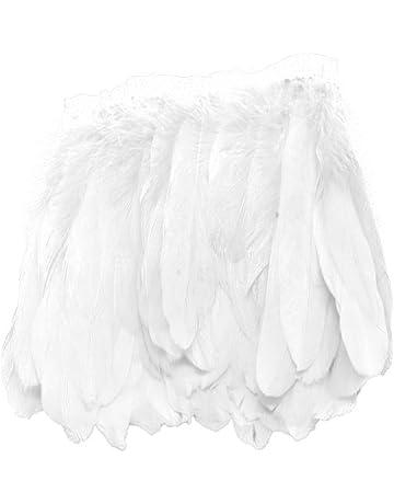 Pluma Decoración para Trajes Ropa Franja Accesorios Hermosos para Bricolaje Costura Varios Colores - blanco