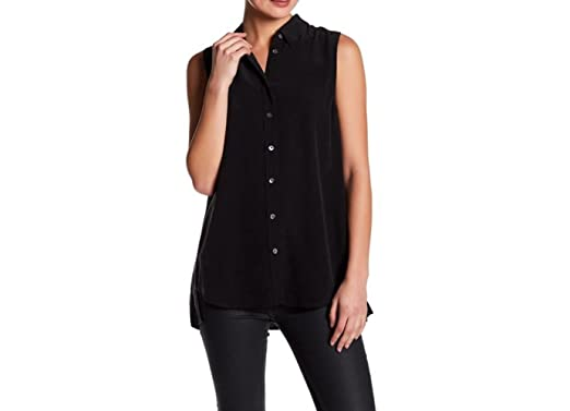f92e426a4b76eb Equipment Sleeveless Slim Signature Trapeze Pleat Back Silk Shirt Blouse in  Black (X-