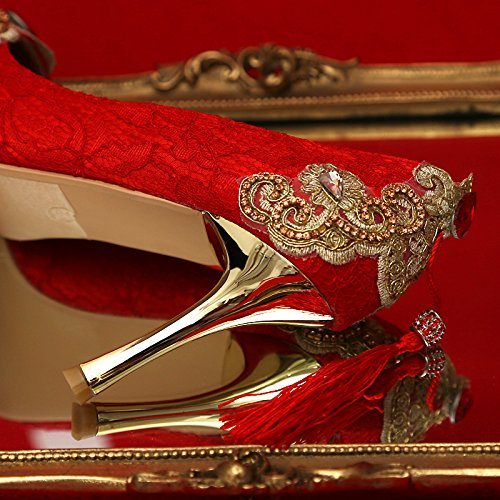 Shoes Heels Tassel Heel Dress Shoes Heel Prom Bride Color National 9Cm Shoes Sandals VIVIOO Shoe Pumps Red 8 Diamond Wedding Crystal Party Chinese Gold Woman wgTXxEqx7