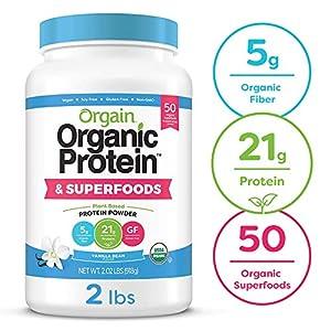 Orgain Organic Plant Based Protein + Superfoods Powder, Vanilla Bean – Vegan, Non Dairy, Lactose Free, No Sugar Added, Gluten Free, Soy Free, Non-GMO, 2.02 lb