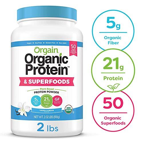 Orgain Organic Plant Based Protein + Superfoods Powder, Vanilla Bean - Vegan, Non Dairy, Lactose Free, No Sugar Added, Gluten Free, Soy Free, Non-GMO, 2.02 lb reviews