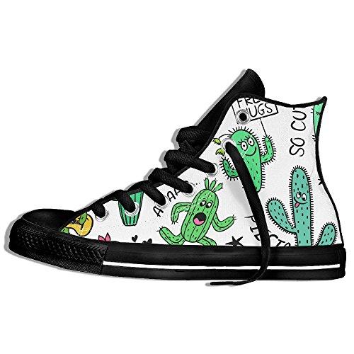 Classiche Sneakers Alte Scarpe Di Tela Anti-skid Cactus Modello Casual Da Passeggio Per Uomo Donna Nero