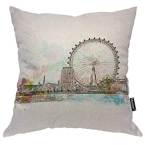 Moslion Ferris Wheel Pillow Cover Sketch of UK Britain London Giant Ferry River Lake for Lover Couple Throw Pillow Case 16x16 Inch Cotton Linen Square Cushion Decorative Cover for Sofa Bed