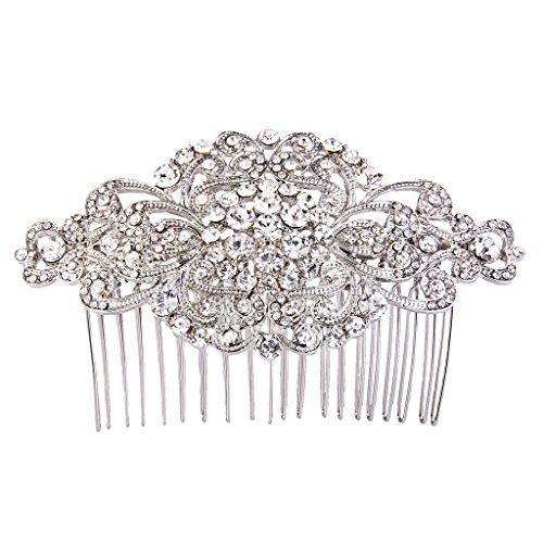 (EVER FAITH Women's Austrian Crystal Vintage Style Elegant Flower Knot Hair Side Comb Clear Silver-Tone)