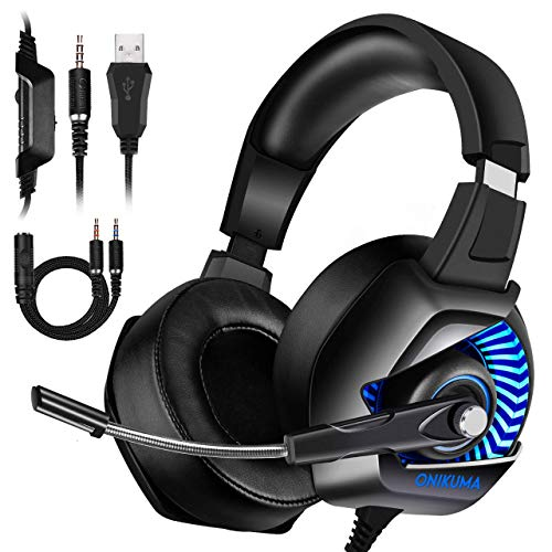 ONIKUMA Xbox One Gaming Headset - Gaming Headset with Mic for PS4, Nintendo Switch, PC, Over Ear Noise-Canceling Gaming Headphones with 7.1 Surround Sound & LED Light for Mac, Laptop, Xbox One (The Best Gaming Laptop Under 300)