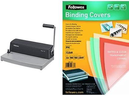 Fellowes - Pack encuadernadora manual de espiral metálico + 100 unidades portadas de encuadernación A4: Amazon.es: Oficina y papelería