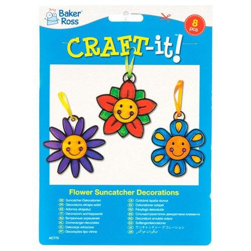Baker Ross Smiley Flower Suncatcher Crafts for Kids Pack of 8 Creative Spring Craft Set for Kids Hanging Window Decoration Kit for Children to Paint