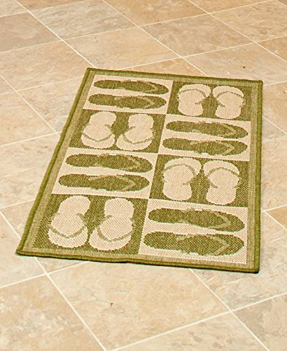 The Lakeside Collection Themed 22x43'' Indoor/Outdoor Accent Rug - Flip Flops by The Lakeside Collection
