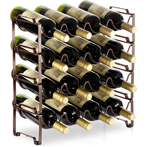 Bextsware 4 Tiers Stackable Metal Wine Rack, 16 Bottles Freestanding Holder Organizer Storage for Kitchen, Bar, Pantry, Wine Cellar, Basement, Countertop, Cabinet – Bronze