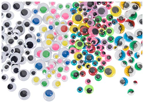 Googly Eyes - 500-Pack Wiggle Eyes, Moving Eyes, Art Craft Supplies, for DIY, School Projects, Toy Accessories, and Scrapbooking, Doll Making, Decoration, 4 Assorted Designs, 3 Assorted Sizes