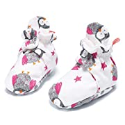 Baby Booties Cozie Girls Boys Newborn 100% Cotton Shoes Socks with Non-slip Mat (Owl, 3-6 M)
