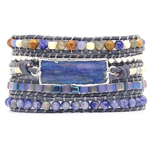 YGLINE Amazonite Handmade Wrap Bracelet Tree of Life Natural Stone Bracelet (Blue-Topaz)