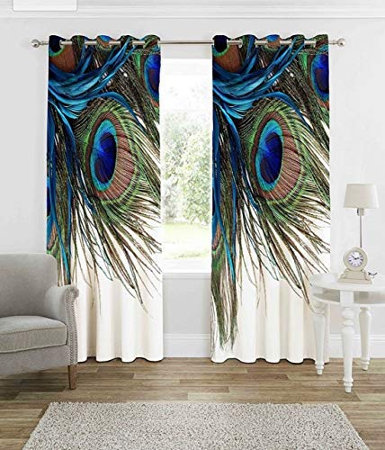 Curtains for Living Room Wooden Bridge Curtains Rustic Country Theme Home Decorations for Bedroom Kids Room Digital Printed Peacock Feathers Knitting Eyelet Long Door Curtains 1 Panels (Multi# 4)