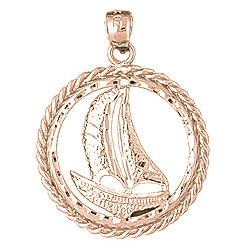 Sailboat Charm Gold Plated - Rose Gold-plated Silver 32mm Sailboat Pendant