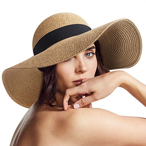 Womens Sun Straw Hat Wide Brim UPF 50 Summer Hat Foldable Roll up Floppy Beach Hats for ()