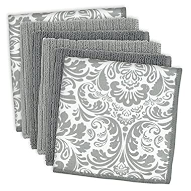 DII Cleaning, Washing, Drying, Ultra Absorbent, Microfiber Damask Dishcloth 12x12  (Set of 6) - Gray