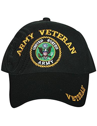US Army Veteran Embroidered Military Branch Logo Baseball Cap Hat Black