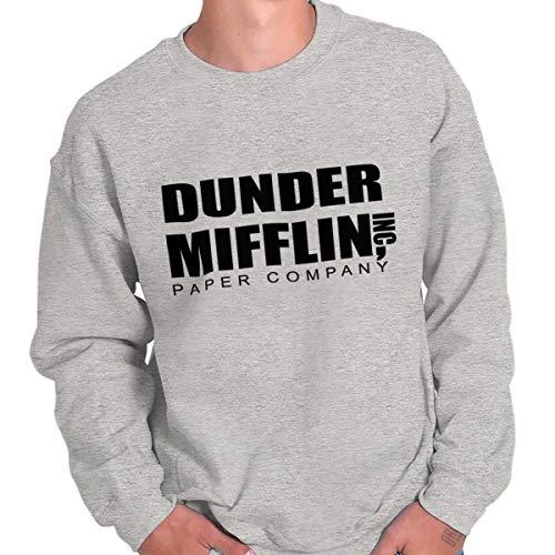 Brisco Brands Dunder Paper Company Mifflin Office TV Show Crewneck Sweatshirt Sport Grey