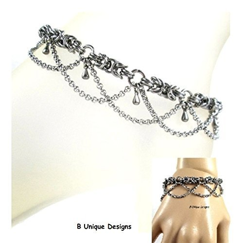 Bracelet Weave Byzantine - Byzantine Silver Weave Bracelet or Anklet Women's Stainless Steel Chain Mail Personalized Jewelry Chain-mail Chains Add Birthstone Swarovski Crystals