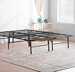 Get the support you need withoutthe inconvenience ofabulkybox spring withtheLinen spa14 InchFolding Platform Bed Frame. This 14-inch solid steel platform frame creates 13 inches of usable storage space under your bed for all that stuf...