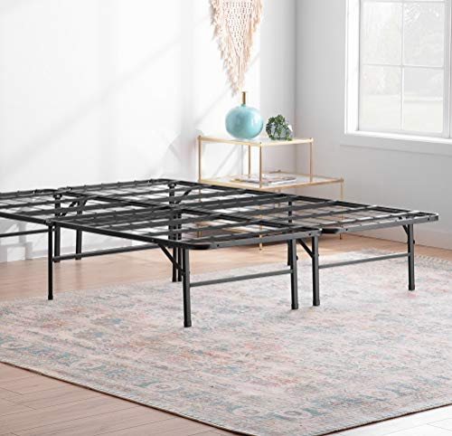 Linenspa 14 Inch Folding Metal Platform Bed Frame - 13 Inches of Clearance - Tons of Under Bed Storage - Heavy Duty Construction - 5 Minute Assembly - Full