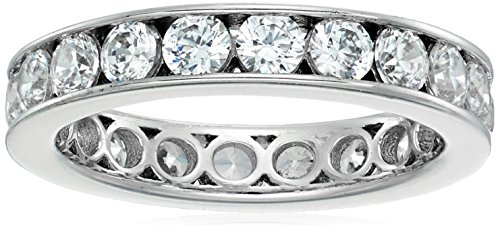 Platinum-Plated Sterling Silver Swarovski Zirconia 2 cttw Channel Set All-Around Eternity Ring, Size 5 (Band Eternity Channel Set)