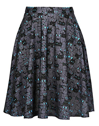 Cat Print Skirt Kitty Cat Midi Skirts for Women Trendy Digital -