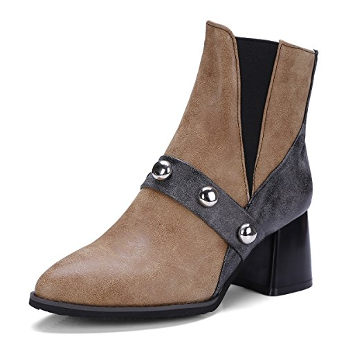 CXQ-Boots qin&X Women's Block Heel Pointed Toe Short Ankle Boots Shoes Dark Brown svrw3AKZ0O