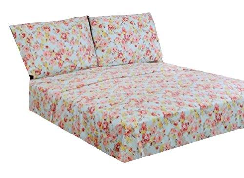 Marrikas 300TC Cotton Queen Floral Sheet Set Pale Aqua Background