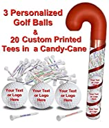 "3 White Golf Balls and 20 Personalized 2 3/4"" tees in Candy Cane Packaging"