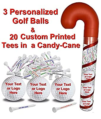 """3 White Golf Balls and 20 Personalized 2 3/4"""" tees in Candy Cane Packaging"""