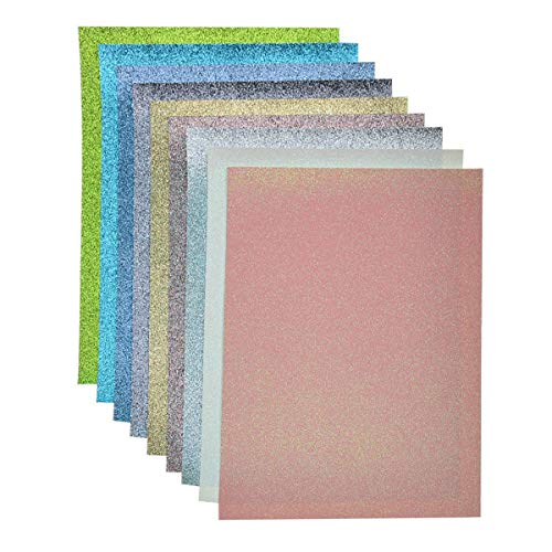 Faux Leather Glitter Canvas Sheets- 9 Pieces Assorted Colors A4 Size(8 X 12 Inch)Shiny Glitter Fabric Sheets for Bows, Earrings, Hair Accessories Making(9 Colors, Each Color One Sheet)