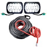 2pcs 5''x7'' 85W CREE LED Headlight DRL + 92ft x 1/2'' Winch Rope w/ Protective Sleeve for Jeep Wrangler YJ Cherokee XJ Comanche MJ H6054 H5054 H6054LL 69822 6052 6053