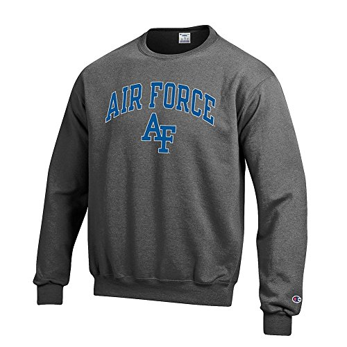 Elite Fan Shop NCAA Air Force Falcons Men's Crewneck Charcoal Gray Sweatshirt, Dark Heather, - Air Sweatshirt Crewneck Force