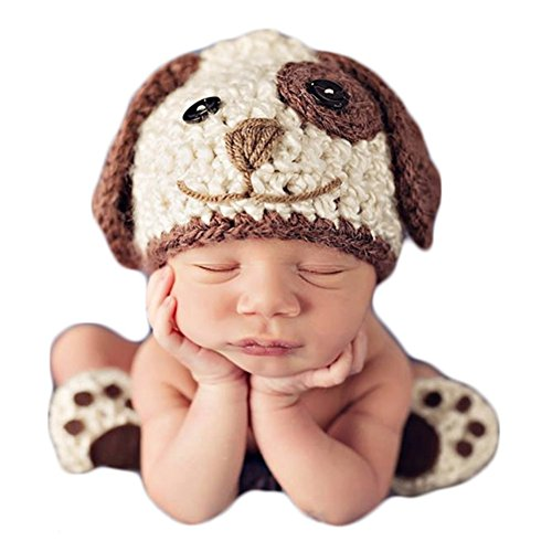 Baby Photography Props Newborn Photo Shoot Outfits Crochet Costume Infant Boy Girl Knitted Puppy Hats Shoes (Puppy Infant)
