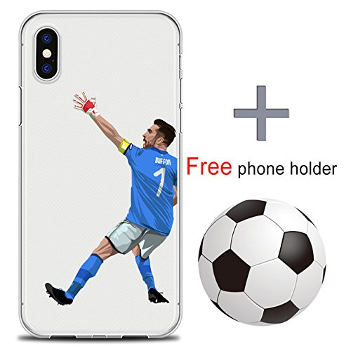 INT Blue White Gianluigi Buffon Pattern iPhone X Case Black Red World Cup Theme 10 Cover Paris Saint-Germain Italian Goalkeeper Soccer Goalie Soft Cellphone Protector Goal Keeper, Plastic