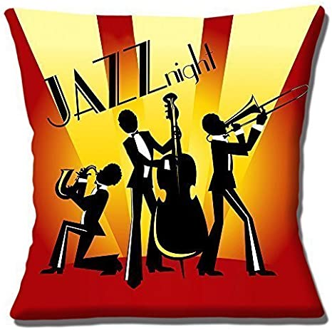 Vintage Retro Jazz Noche silueta Trío Amarillo Rojo - 16