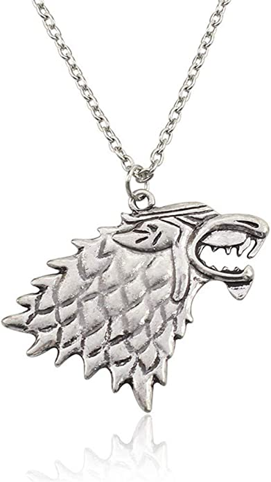 Licxcx Collares Juego de Poder Europeo y Americano Cabeza de Lobo Hielo y Fuego canción Collar de Lobo de Hielo: Amazon.es: Joyería