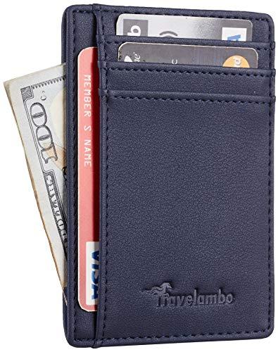 Travelambo Front Pocket Minimalist Leather Slim Wallet RFID Blocking Medium Size(Vipor Blue)