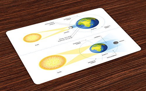 Ambesonne Educational Place Mats Set of 4, Solar and Lunar Eclipse Planet Earth Sun Moon Orbit Astronomy Science, Washable Fabric Placemats for Dining Room Kitchen Table Decor, Blue Green Mustard by Ambesonne
