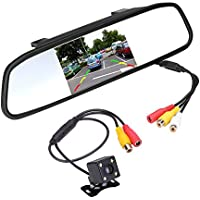Podofo Super Mini Backup Camera & 4.3 Car TFT LCD Mirror Monitor, Night Vision Waterproof Camera Parking Reverse System Assembly