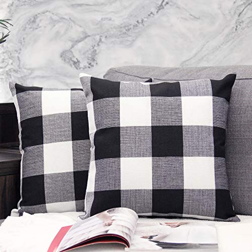 JOJUSIS Buffalo Check Plaid Throw Pillow Covers Cotton Linen Soft Solid Farmhouse Classic Decorative Square Cushion Cases for Sofa Bedroom Car 18 x 18 Inch Black Pack of 2