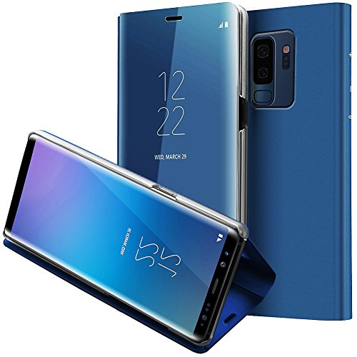 Galaxy S9 Plus Case,WATACHE Smart Sleep/Wake Up S-View Window Makeup Mirror Electroplate Plating Stand Feature Slim Full Body Protective Flip Folio Cover for Galaxy S9 Plus(Blue) (Of Back Call The Card Light)