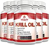 Vitality Health Supplements Pure Krill Oil with Astaxanthin and Omega 3 Fatty Acids EPA & DHA, 1000mg, 180 Softgels, (6)