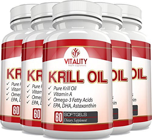 Vitality Health Supplements Pure Krill Oil with Astaxanthin and Omega 3 Fatty Acids EPA & DHA, 1000mg, 180 Softgels, (6) by Vitality Health Supplements